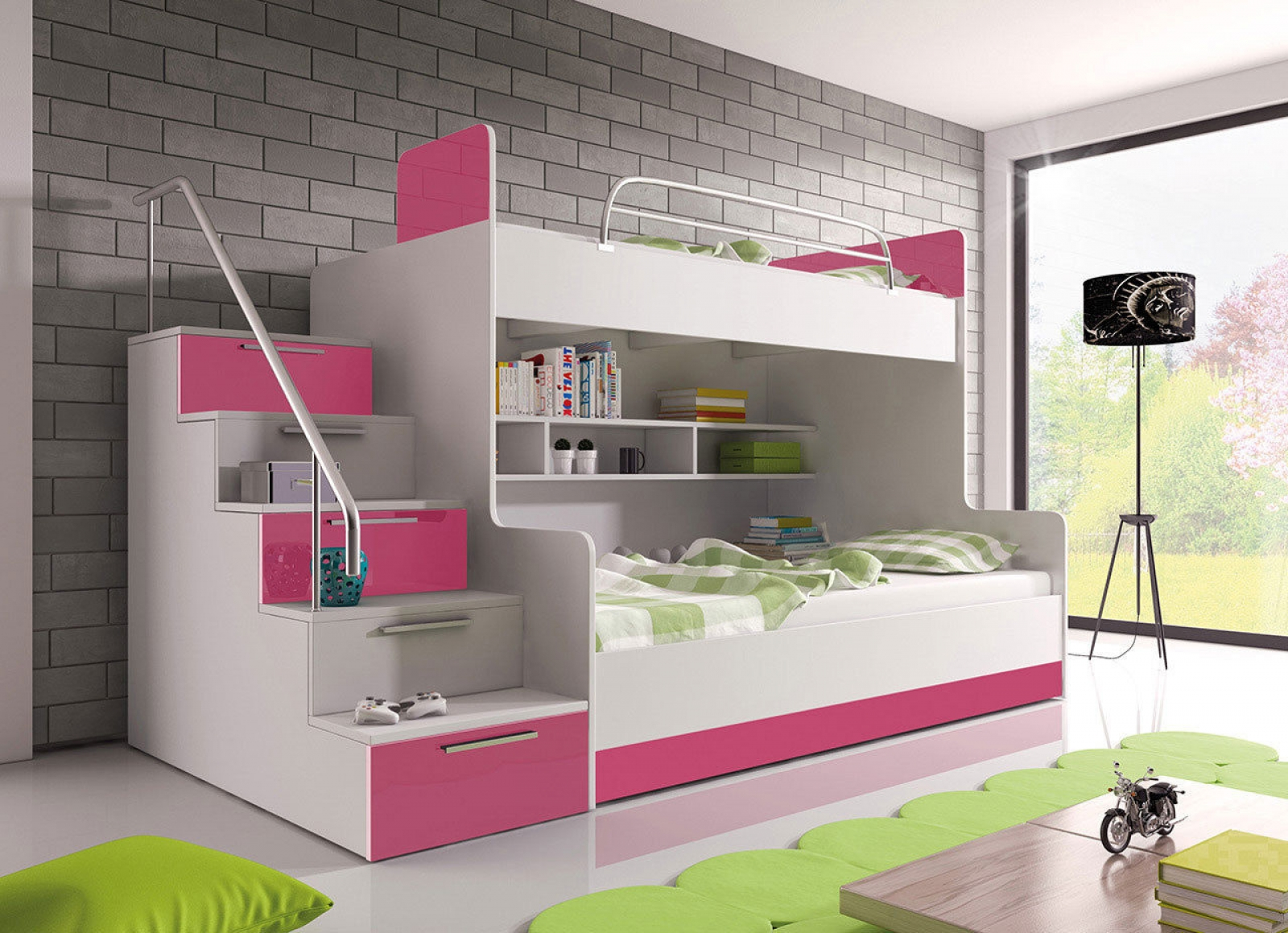 kaufexpert doppelstockbett rosa hochglanz links. Black Bedroom Furniture Sets. Home Design Ideas