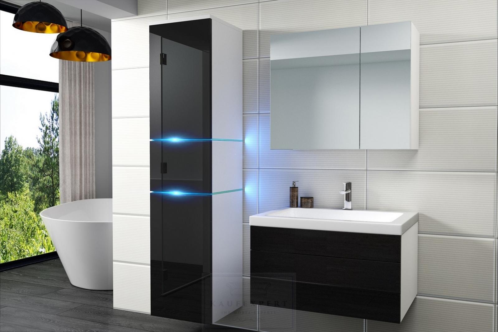 kaufexpert - badmöbel-set ledox 170 cm schwarz hochglanz/weiß