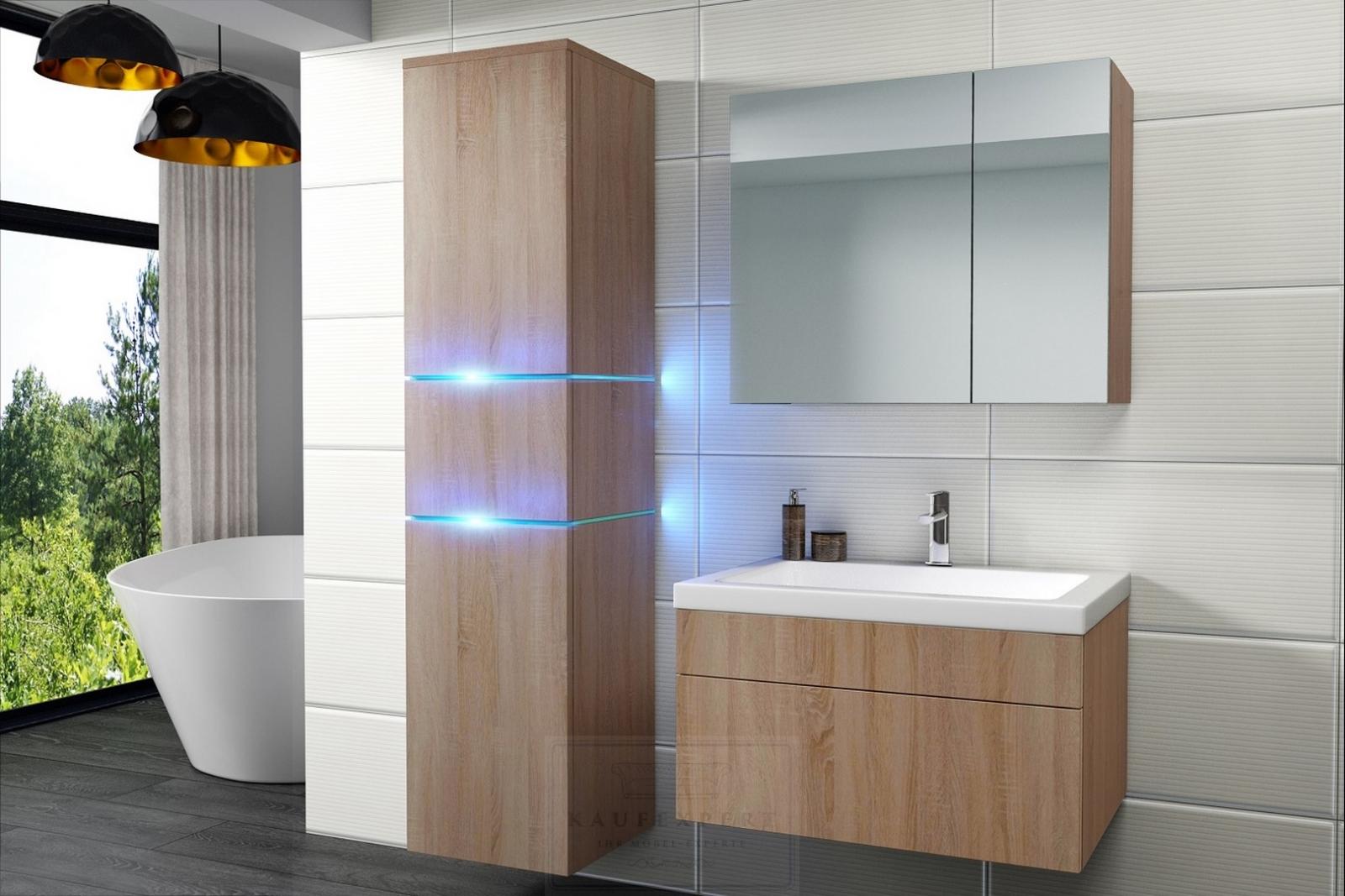 kaufexpert badm bel set ledox 170 cm sonoma eiche keramik waschbecken badezimmer led. Black Bedroom Furniture Sets. Home Design Ideas