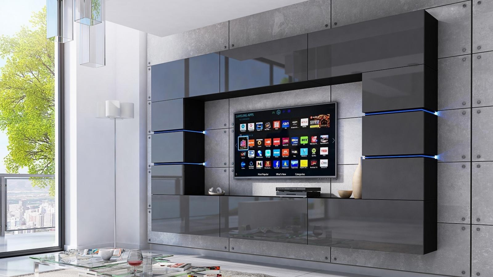 kaufexpert wohnwand bloom grau hochglanz schwarz 264 cm. Black Bedroom Furniture Sets. Home Design Ideas