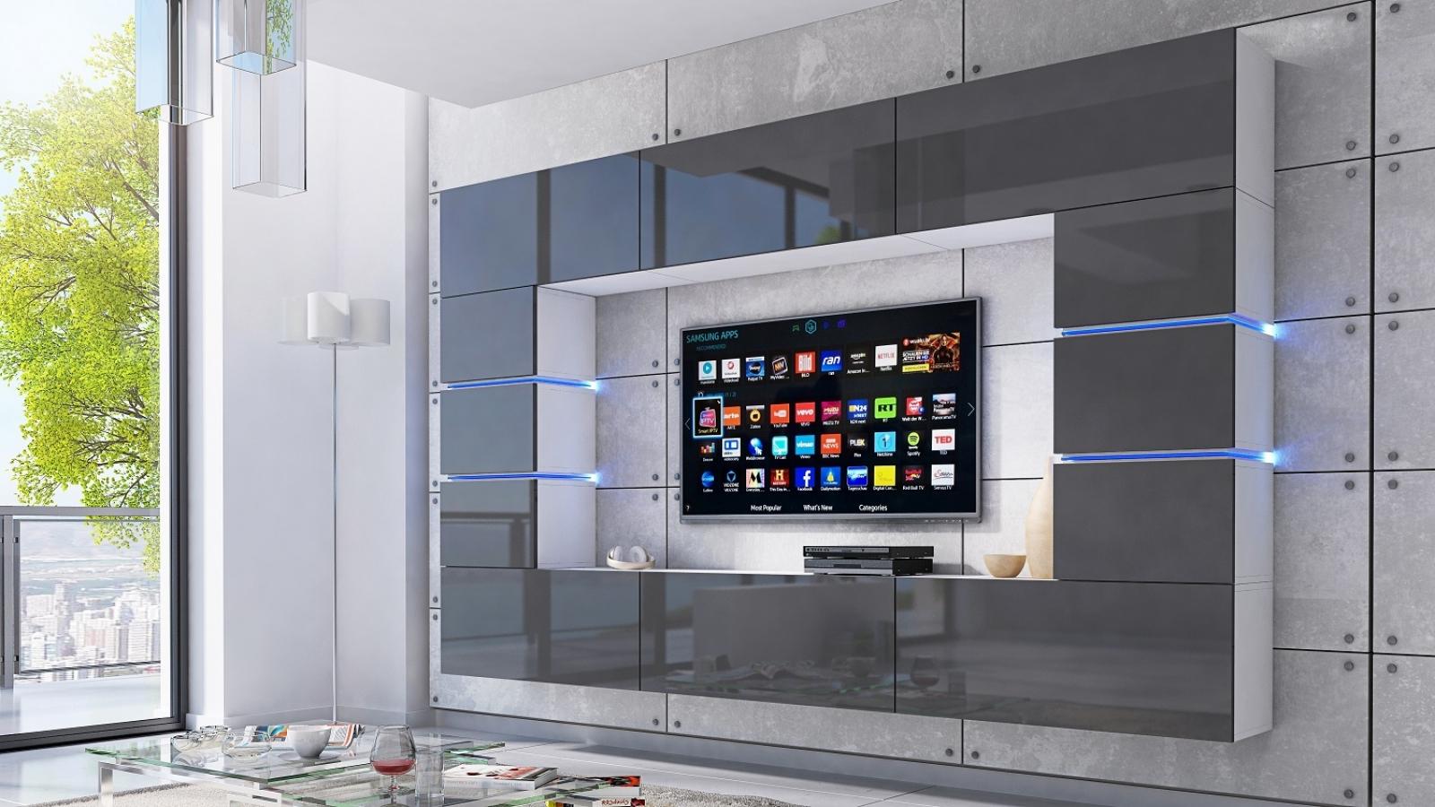 Wohnwand Bloom Grau Hochglanz Weiss 264 Cm Mediawand Medienwand Design Modern Led Beleuchtung Mdf Hochglanz Hangewand Hangeschrank Tv Wand