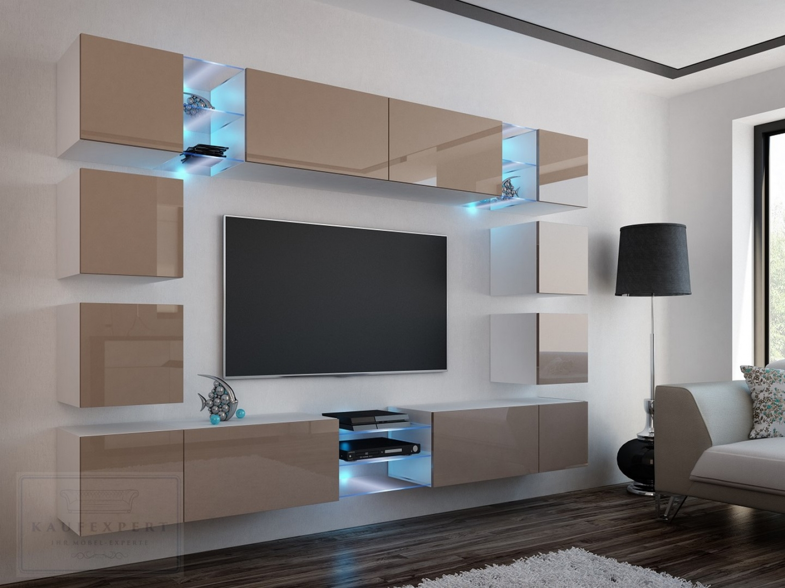 kaufexpert wohnwand edge cappuccino hochglanz wei mediawand medienwand design modern led. Black Bedroom Furniture Sets. Home Design Ideas
