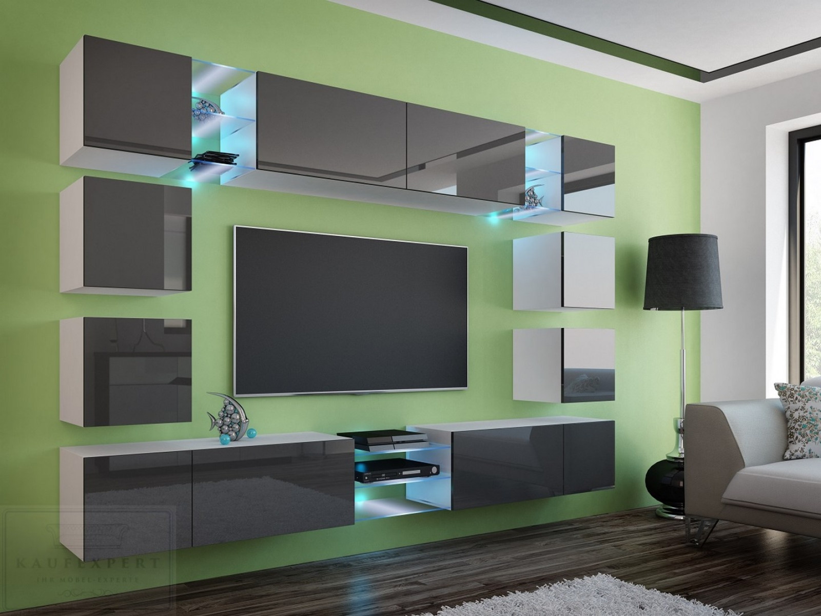 kaufexpert wohnwand edge grau hochglanz wei mediawand medienwand design modern led. Black Bedroom Furniture Sets. Home Design Ideas