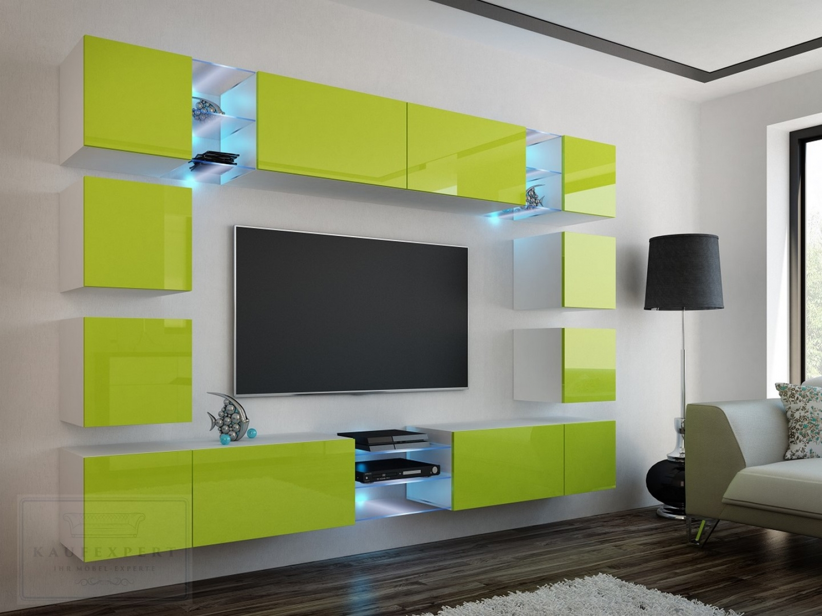 kaufexpert wohnwand edge lime hochglanz wei mediawand medienwand design modern led. Black Bedroom Furniture Sets. Home Design Ideas