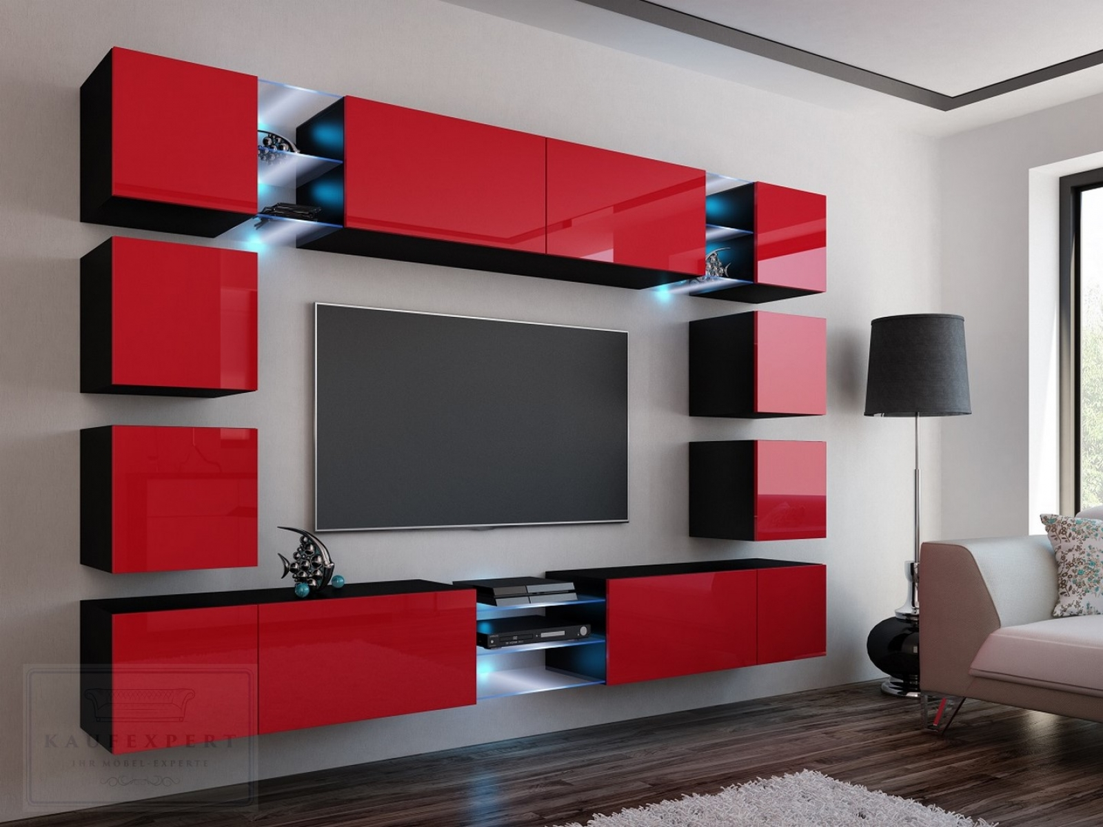 kaufexpert wohnwand edge rot hochglanz schwarz mediawand medienwand design modern led. Black Bedroom Furniture Sets. Home Design Ideas
