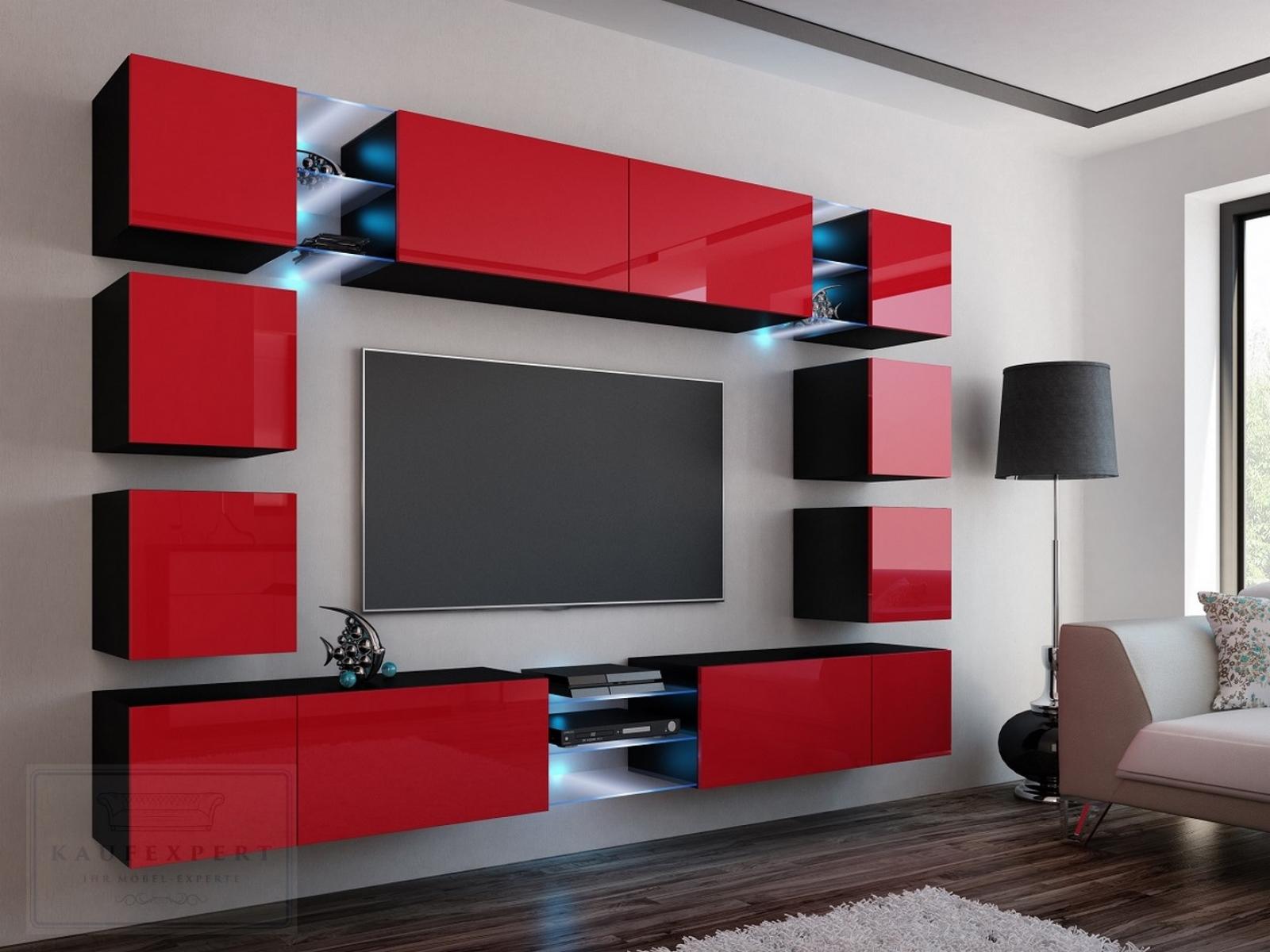 kaufexpert - wohnwand edge rot hochglanz/schwarz mediawand, Gestaltungsideen
