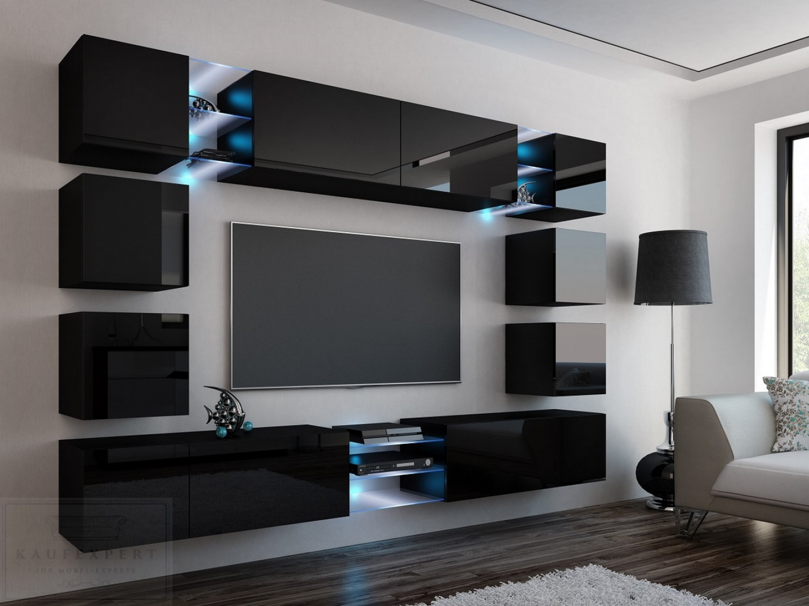 kaufexpert wohnwand edge schwarz hochglanz mediawand medienwand design modern led beleuchtung. Black Bedroom Furniture Sets. Home Design Ideas