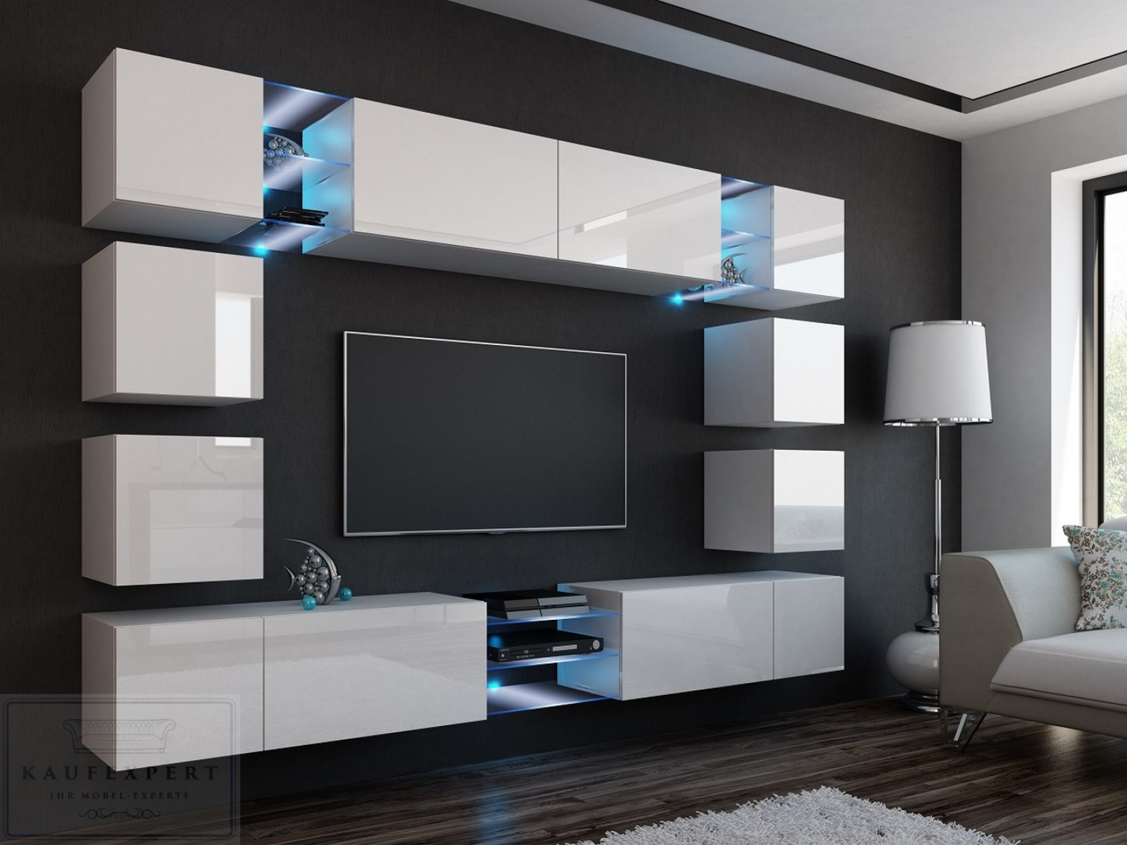 Wohnwand Edge Weiß Hochglanz Mediawand Medienwand Design Modern Led  Beleuchtung MDF Hochglanz Hängewand Hängeschrank TV Wand