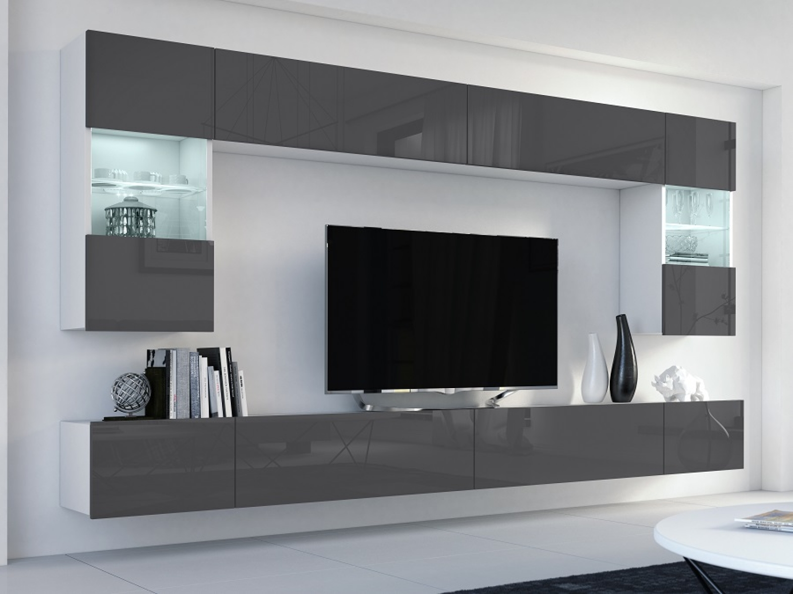 Wohnwand Flow Grau Hochglanz Weiss Mediawand Medienwand Design Modern Led Beleuchtung Mdf Hochglanz Hangewand Hangeschrank Tv Wand