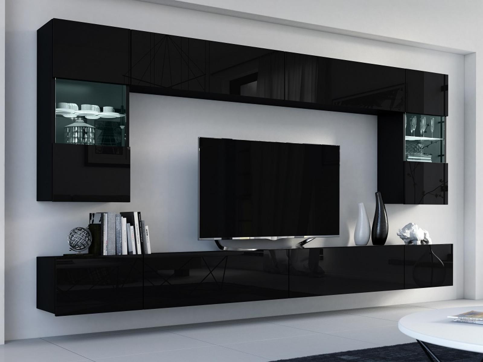 Wohnwand Flow Schwarz Hochglanz/ Schwarz Mediawand Medienwand Design Modern  Led Beleuchtung MDF Hochglanz Hängewand Hängeschrank TV Wand