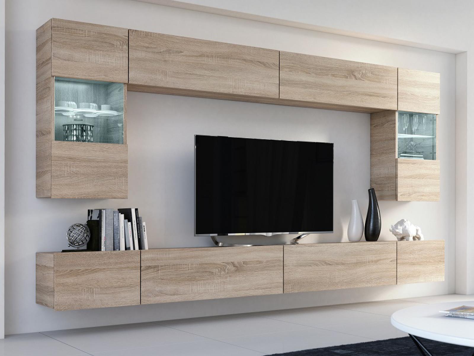Wohnwand Flow Sonoma Eiche Mediawand Medienwand Design Modern Led  Beleuchtung Hängewand Hängeschrank TV Wand