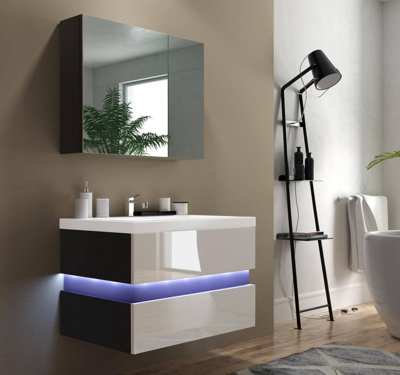 Badmöbel Set Flow Lackiert Weiß Hochglanz/Schwarz KERAMIK Waschbecken  Badezimmer Led Beleuchtung Badezimmermöbel Keramikbecken