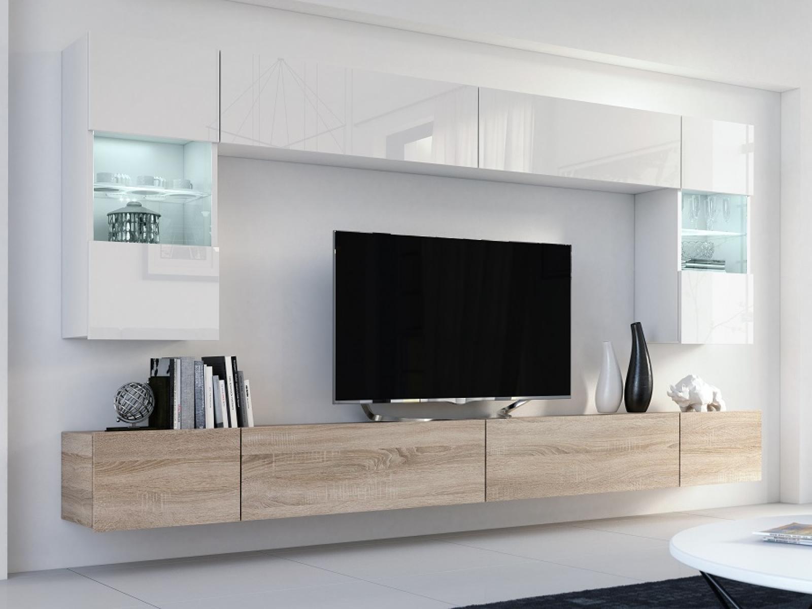 Wohnwand Flow Weiß Hochglanz/ Weiß + Sonoma Mediawand Medienwand Design  Modern Led Beleuchtung MDF Hochglanz Hängewand Hängeschrank TV Wand