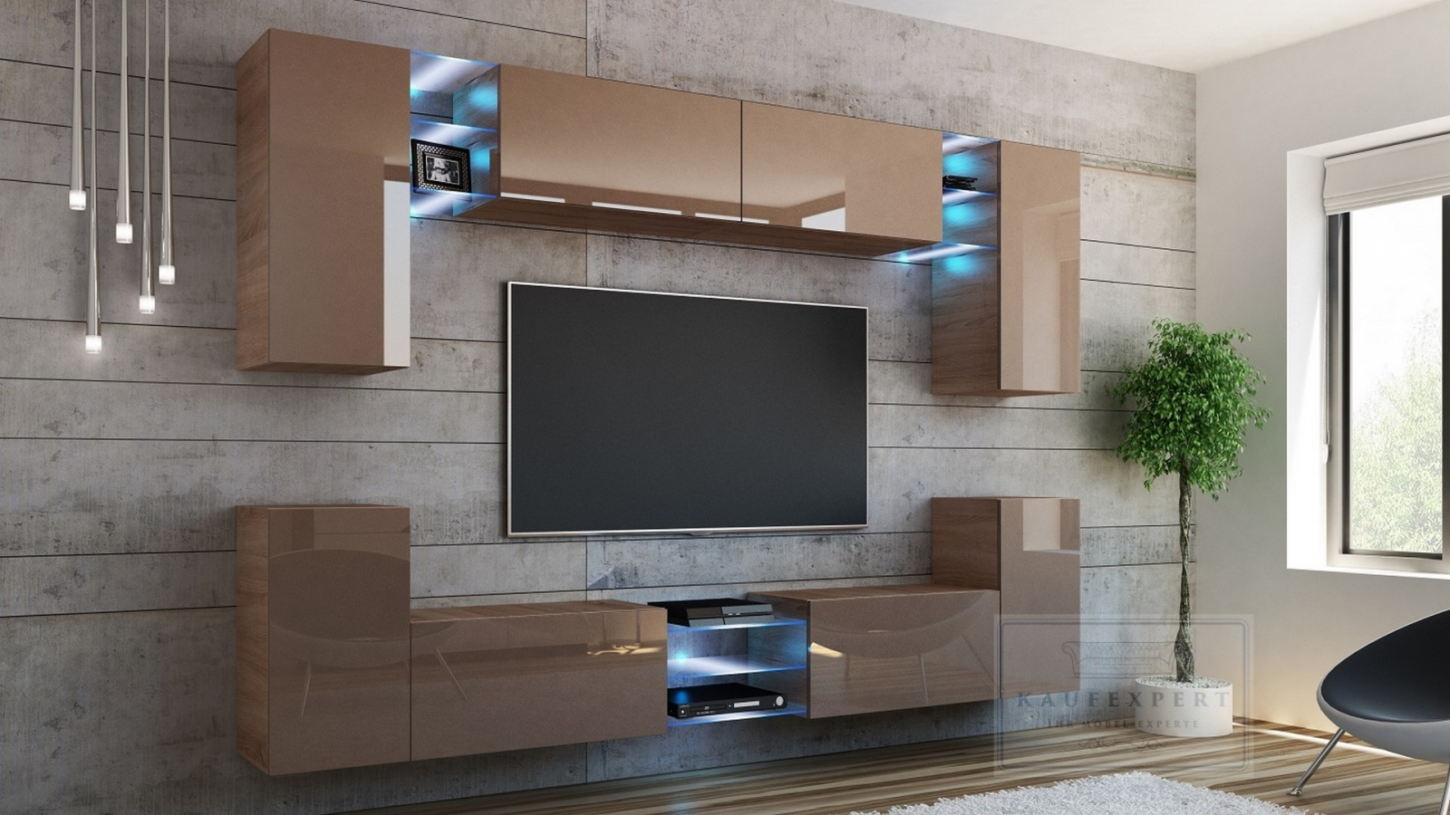 kaufexpert wohnwand galaxy cappuccino hochglanz sonoma eiche mediawand medienwand design. Black Bedroom Furniture Sets. Home Design Ideas