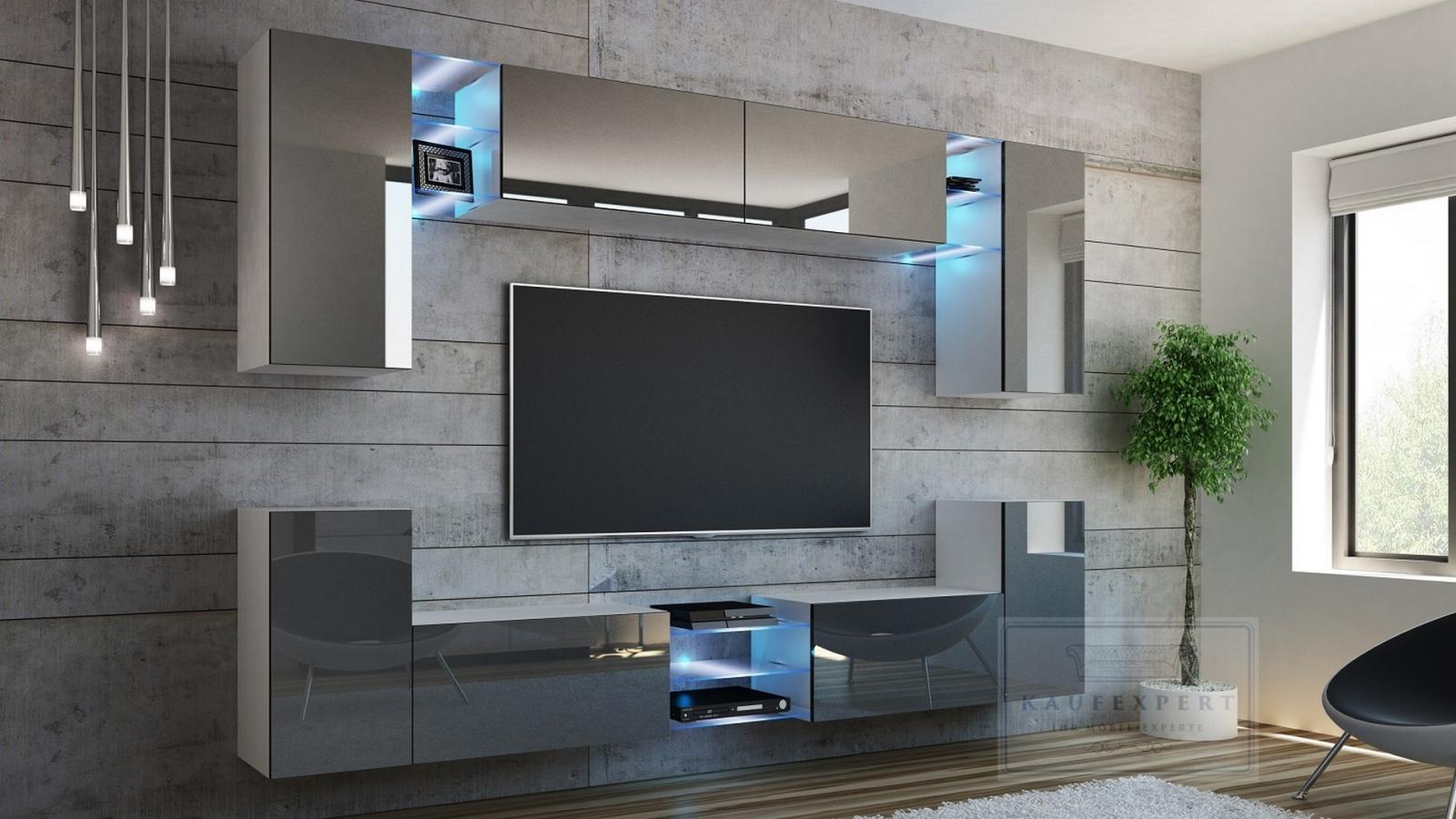 kaufexpert kommode shine sideboard 120 cm grau hochglanz wei led beleuchtung modern design tv. Black Bedroom Furniture Sets. Home Design Ideas