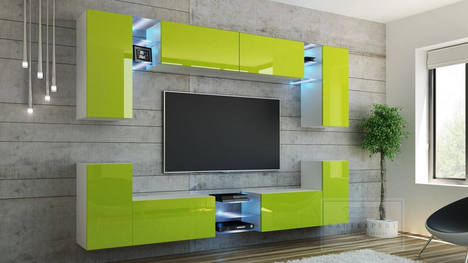 Cool Good Good Wohnwand Galaxy Lime Hochglanz Wei Mediawand Medienwand  Design Modern Led Beleuchtung Mdf Hochglanz Hngewand Hngeschrank Tv Wand  With Tv Wand ...