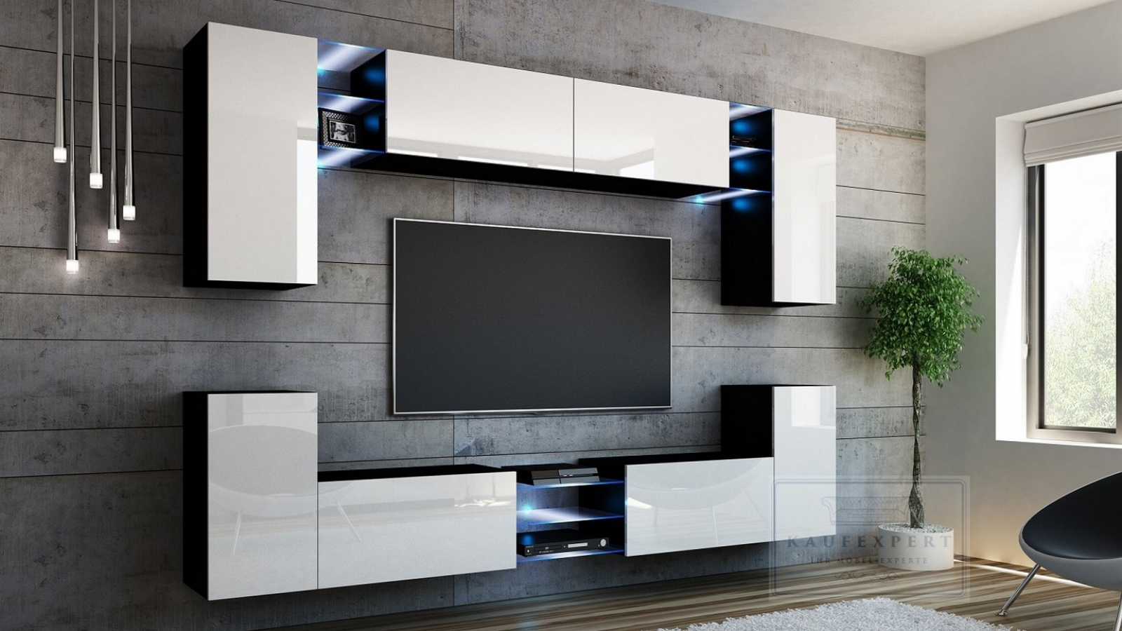 tv wohnwand wei artikel mediawand wohnwand edge wei hochglanz tv wand mit ambiente beleuchtung. Black Bedroom Furniture Sets. Home Design Ideas