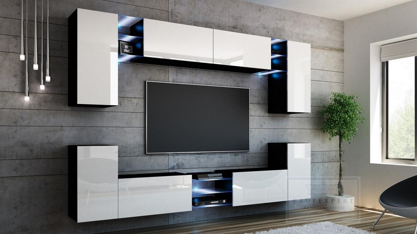 Wohnwand Splash Weiß Hochglanz Schwarz Mediawand Medienwand Design Modern Led Beleuchtung Mdf Hochglanz Hängewand Hängeschrank Galaxy Tv Wand