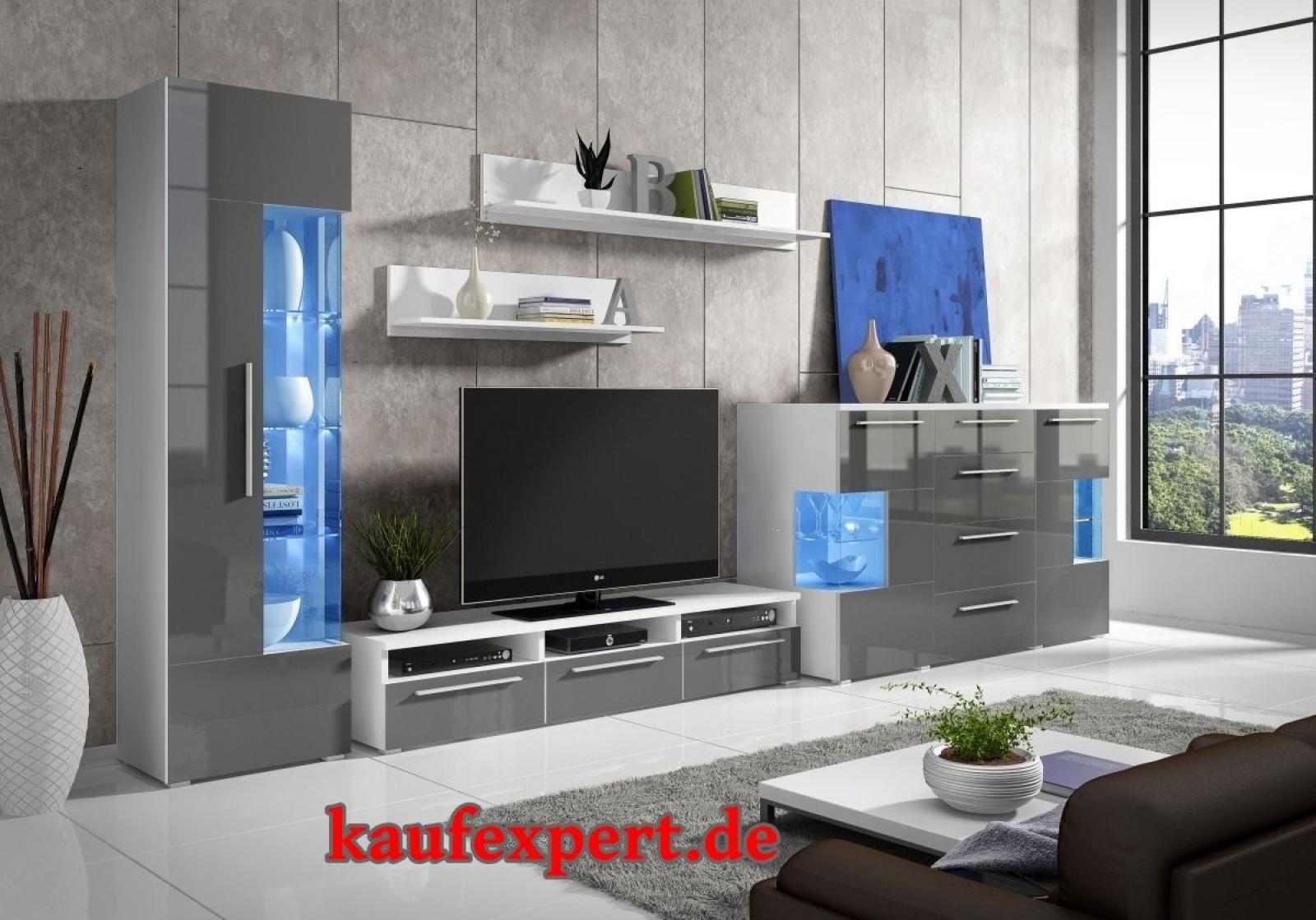 Kaufexpert Wohnwand Roma 350cm Grau Hochglanz Mit Kommode
