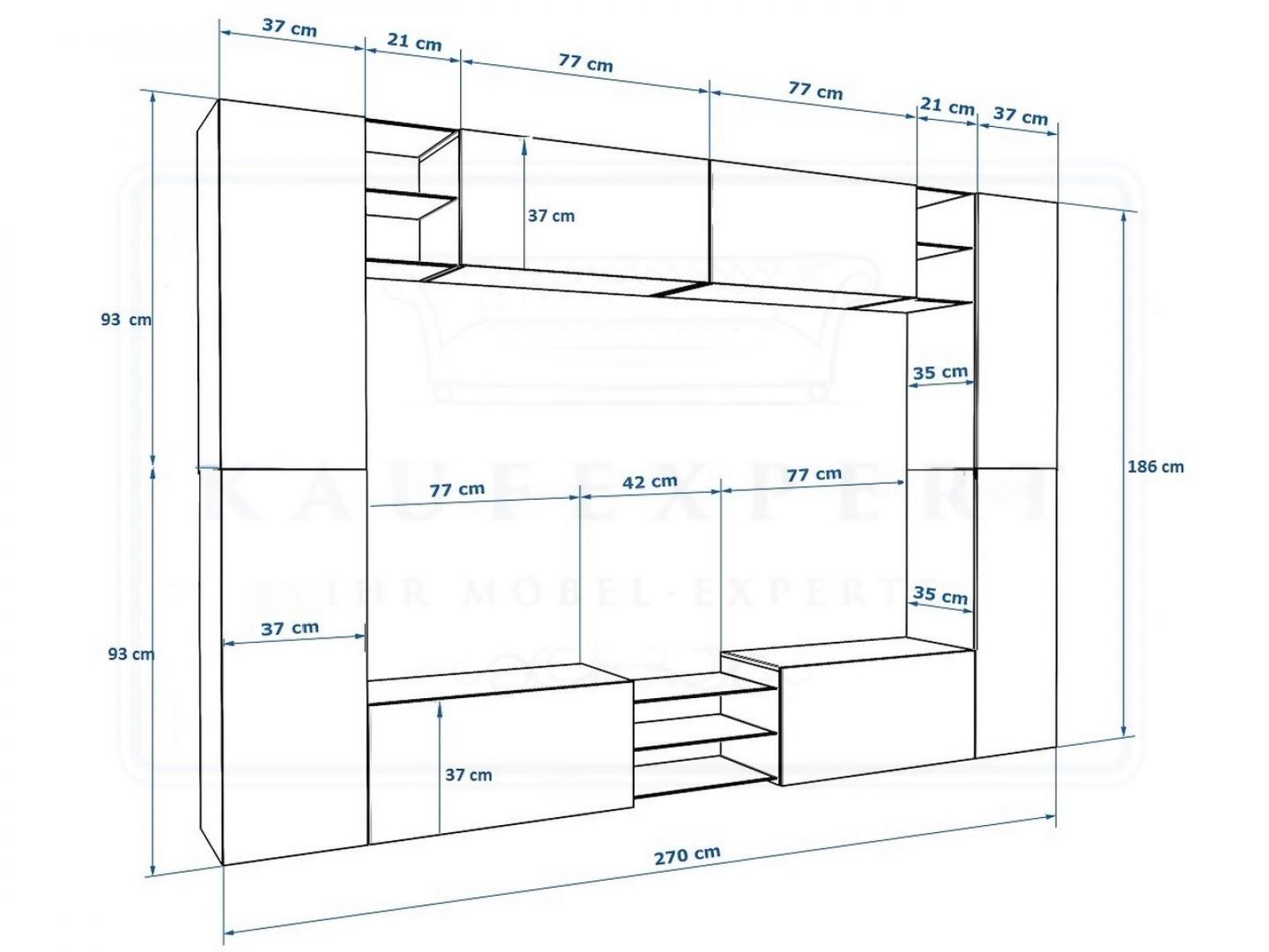kaufexpert wohnwand kino wei hochglanz wei mediawand medienwand design modern led. Black Bedroom Furniture Sets. Home Design Ideas