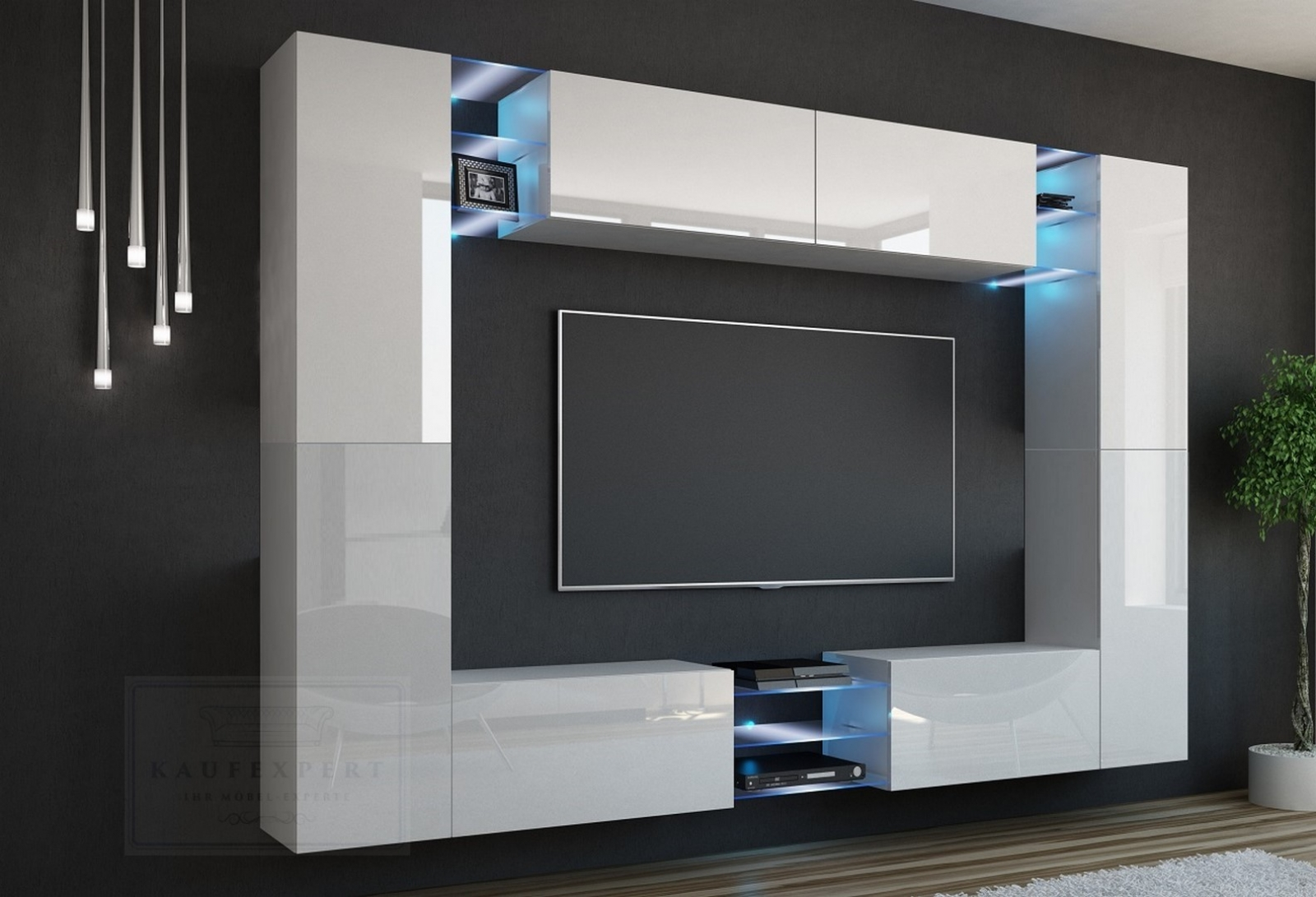 kaufexpert wohnwand kino wei hochglanz wei mediawand medienwand design modern led. Black Bedroom Furniture Sets. Home Design Ideas