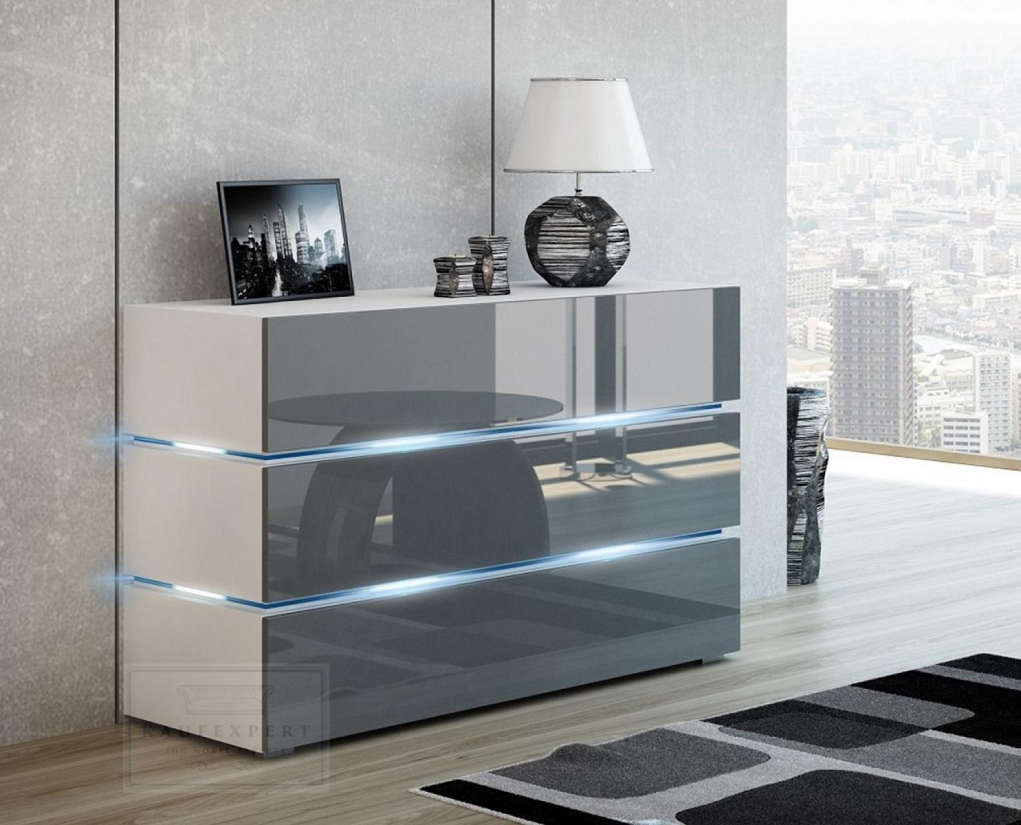 Kaufexpert Kommode Shine Sideboard 120 Cm Grau Hochglanz Weiss Led