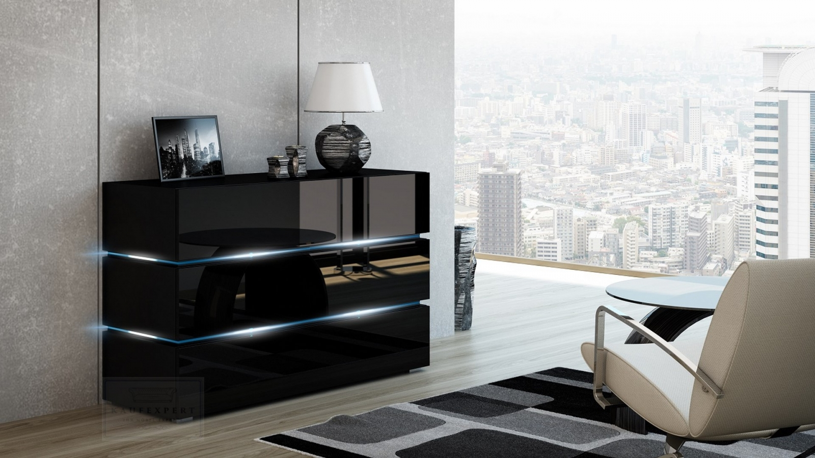 kaufexpert kommode shine sideboard 120 cm schwarz. Black Bedroom Furniture Sets. Home Design Ideas