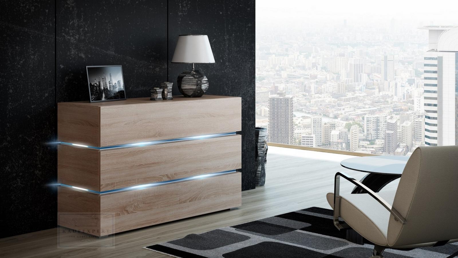 kaufexpert wohnwand dream sonoma eiche matt 332 cm. Black Bedroom Furniture Sets. Home Design Ideas