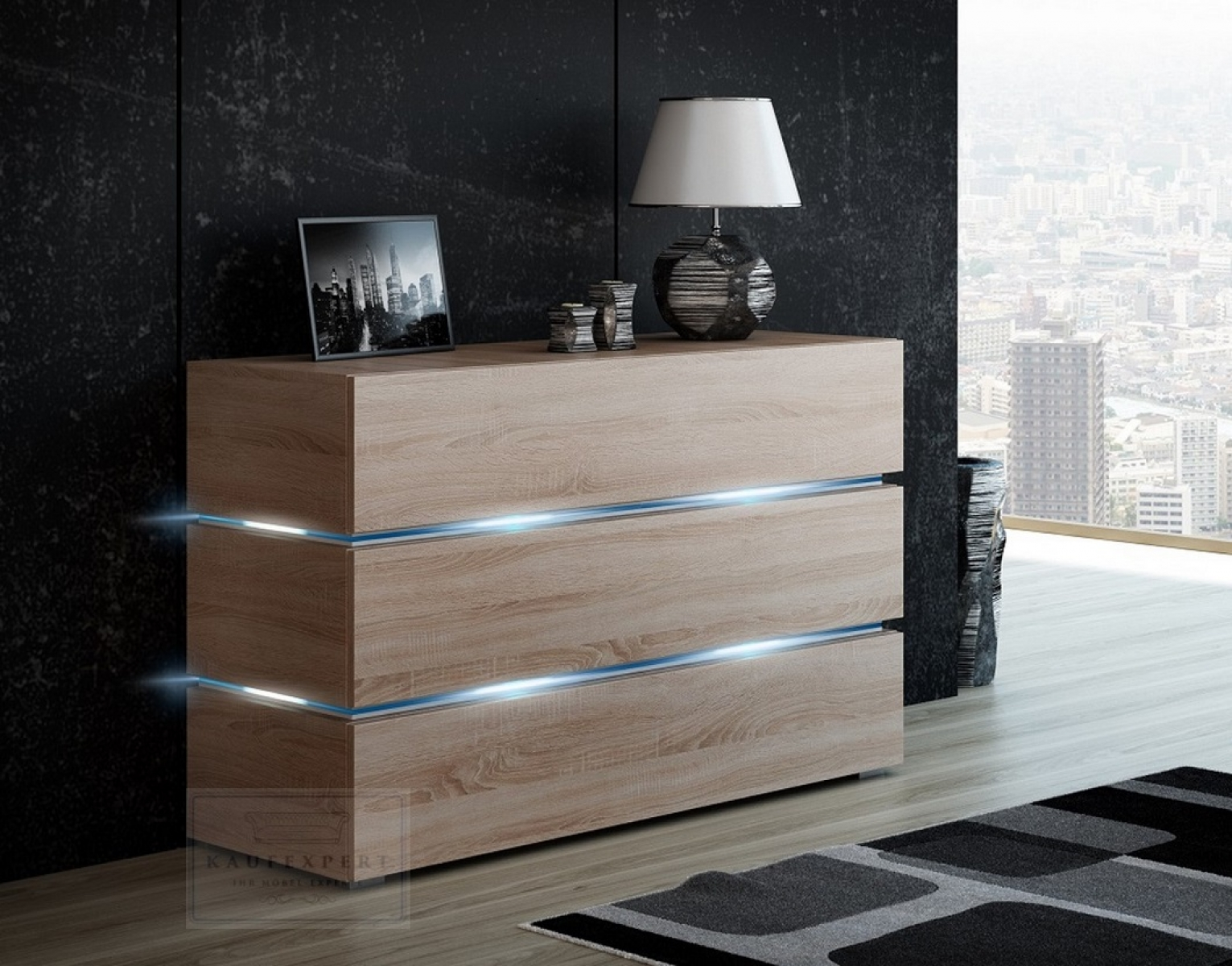 kaufexpert kommode shine sideboard 120 cm sonoma eiche led beleuchtung modern design tv m bel. Black Bedroom Furniture Sets. Home Design Ideas