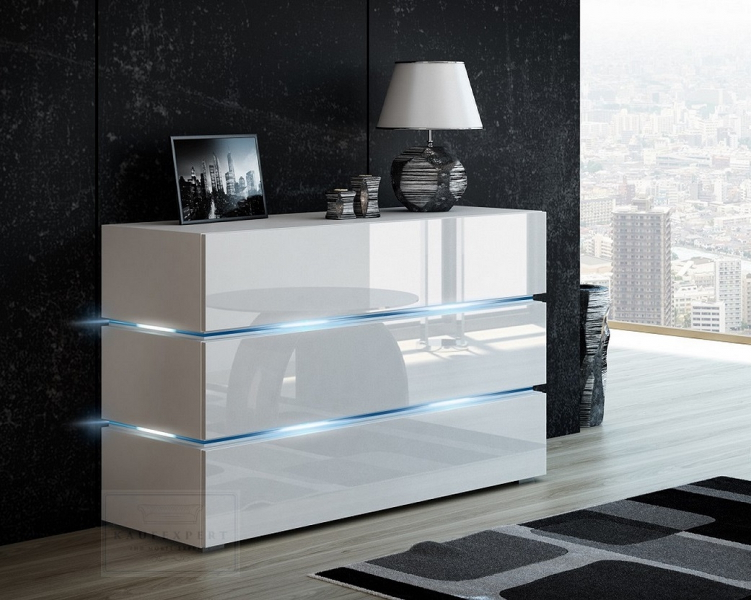 kaufexpert kommode shine sideboard 90 cm wei hochglanz wei led beleuchtung modern design tv. Black Bedroom Furniture Sets. Home Design Ideas