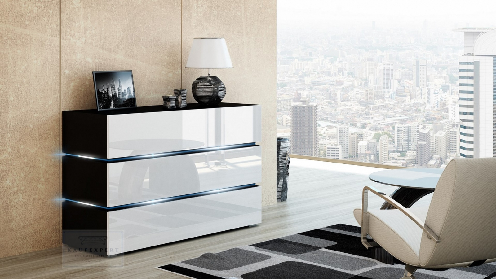 kaufexpert kommode shine sideboard 120 cm wei hochglanz schwarz led beleuchtung modern design. Black Bedroom Furniture Sets. Home Design Ideas