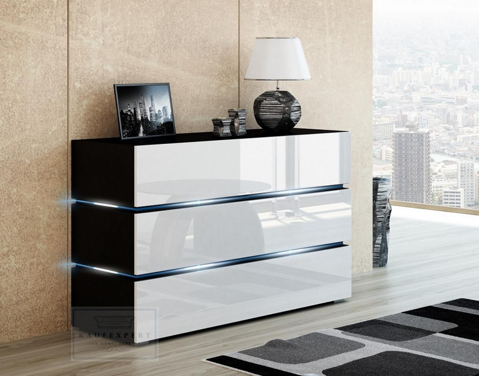 Kaufexpert Kommode Shine Sideboard 120 Cm Weiss Hochglanz Schwarz