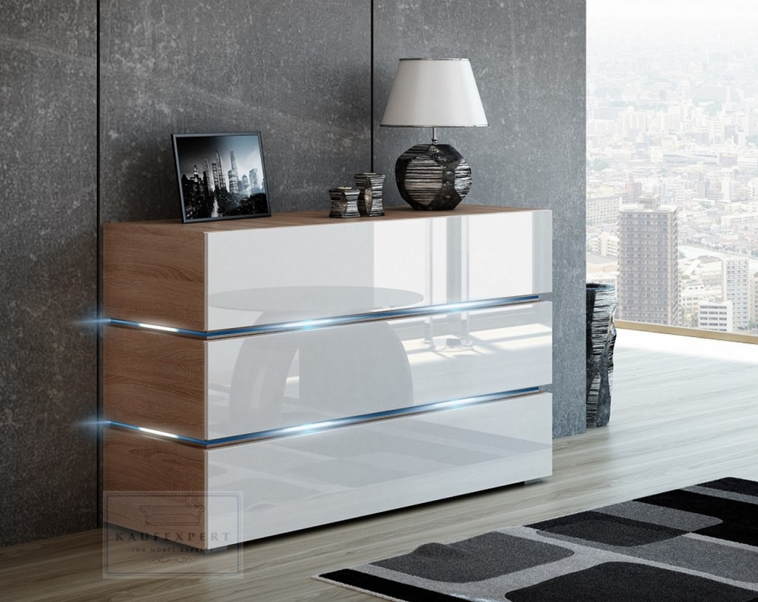 kaufexpert kommode shine sideboard 120 cm wei hochglanz sonoma eiche led beleuchtung modern. Black Bedroom Furniture Sets. Home Design Ideas