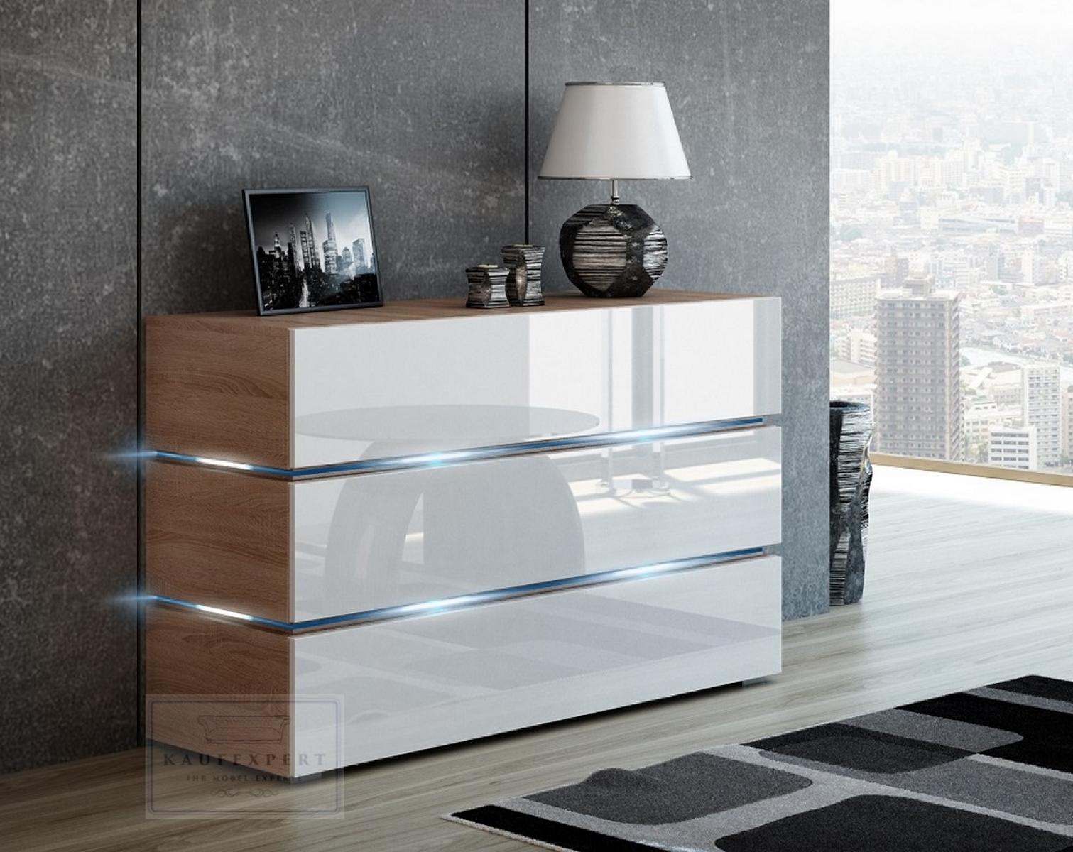 KAUFEXPERT - Kommode Shine Sideboard 120 cm Weiß Hochglanz/Sonoma ...