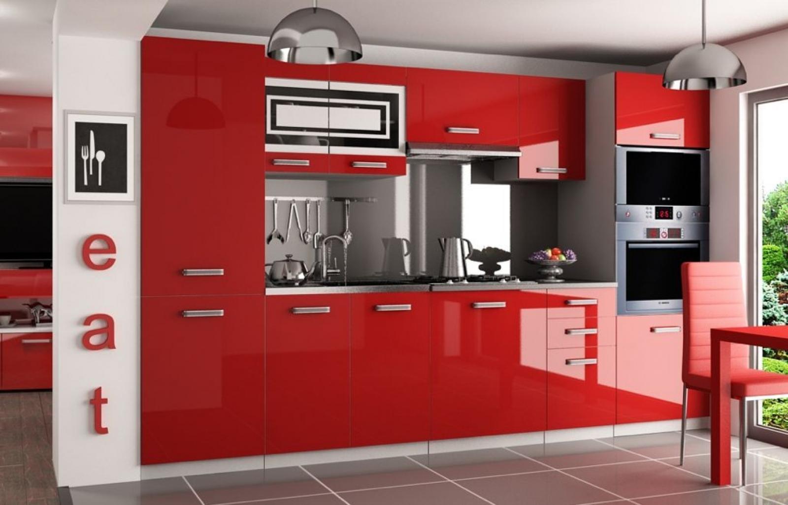 Kaufexpert Küchenzeile Moderno Rot Hochglanz 300 Cm Küche