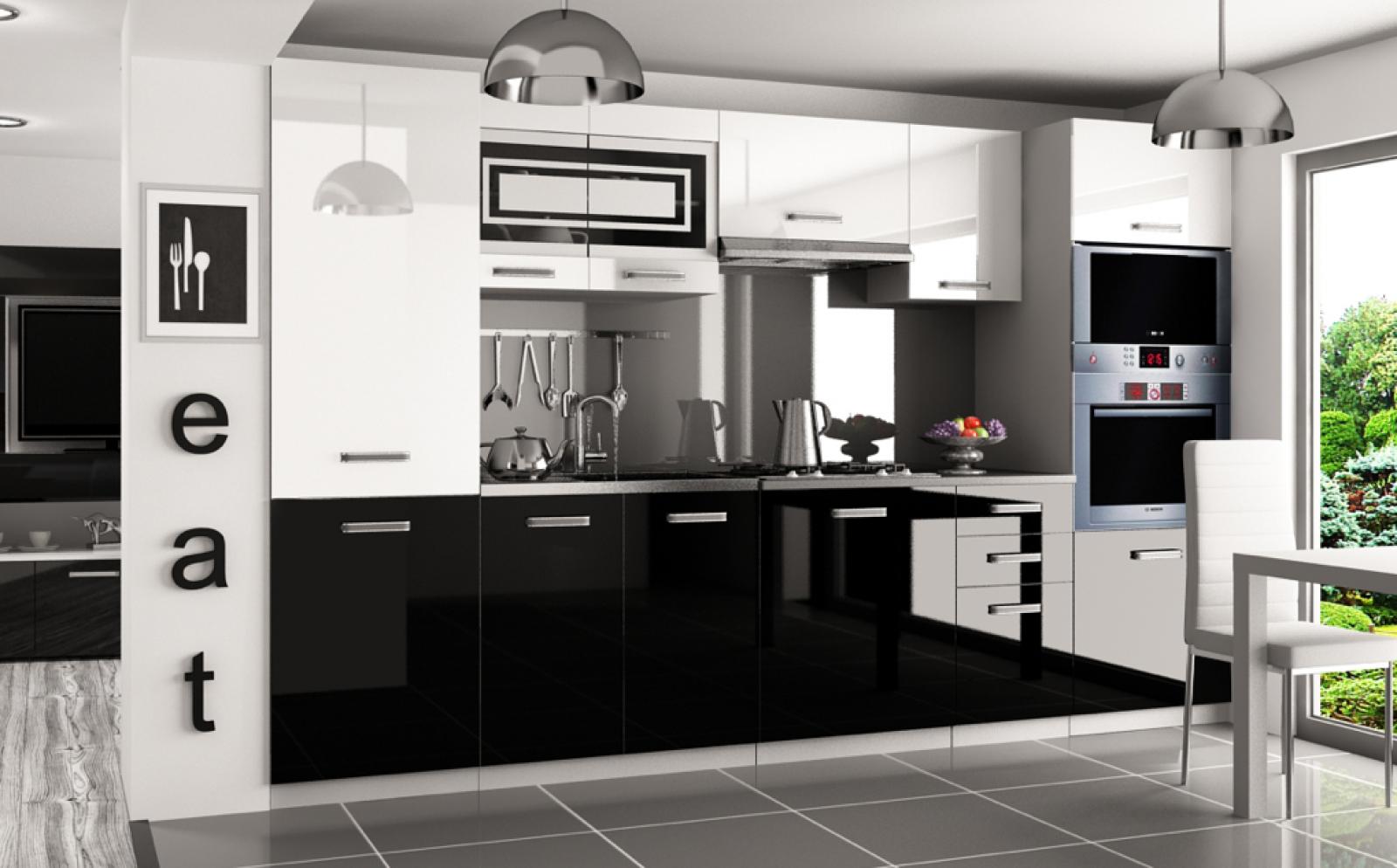Kaufexpert Küchenzeile Moderno Weiß Hochglanz Schwarz Hochglanz