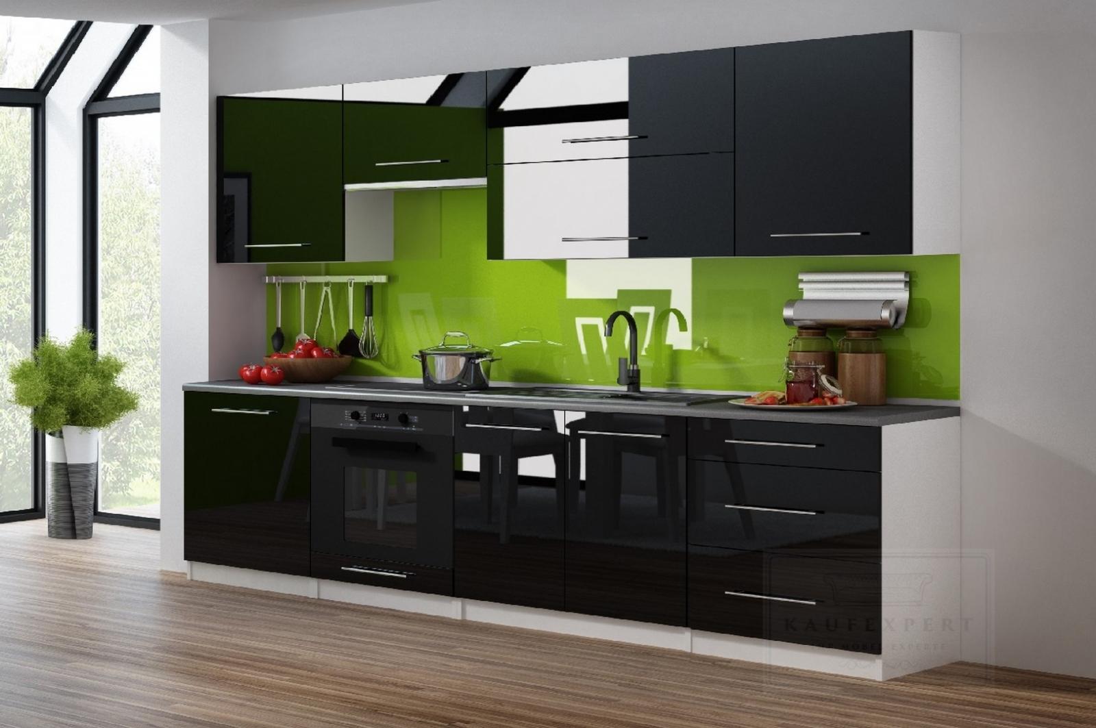 KAUFEXPERT - Küchenzeile Linda Aubergine Hochglanz 260 cm Küche ...