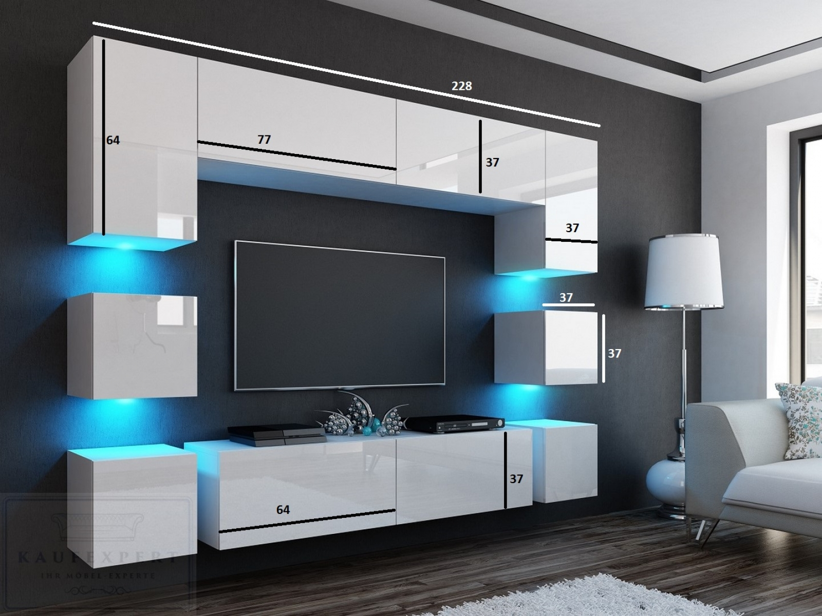 kaufexpert wohnwand quadro grau hochglanz wei 228 cm mediawand medienwand design modern led. Black Bedroom Furniture Sets. Home Design Ideas