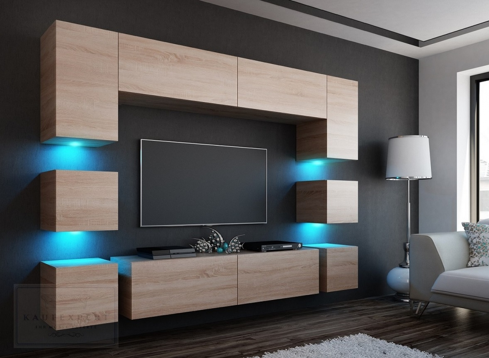 kaufexpert wohnwand quadro sonoma eiche matt 228 cm mediawand medienwand design modern led. Black Bedroom Furniture Sets. Home Design Ideas