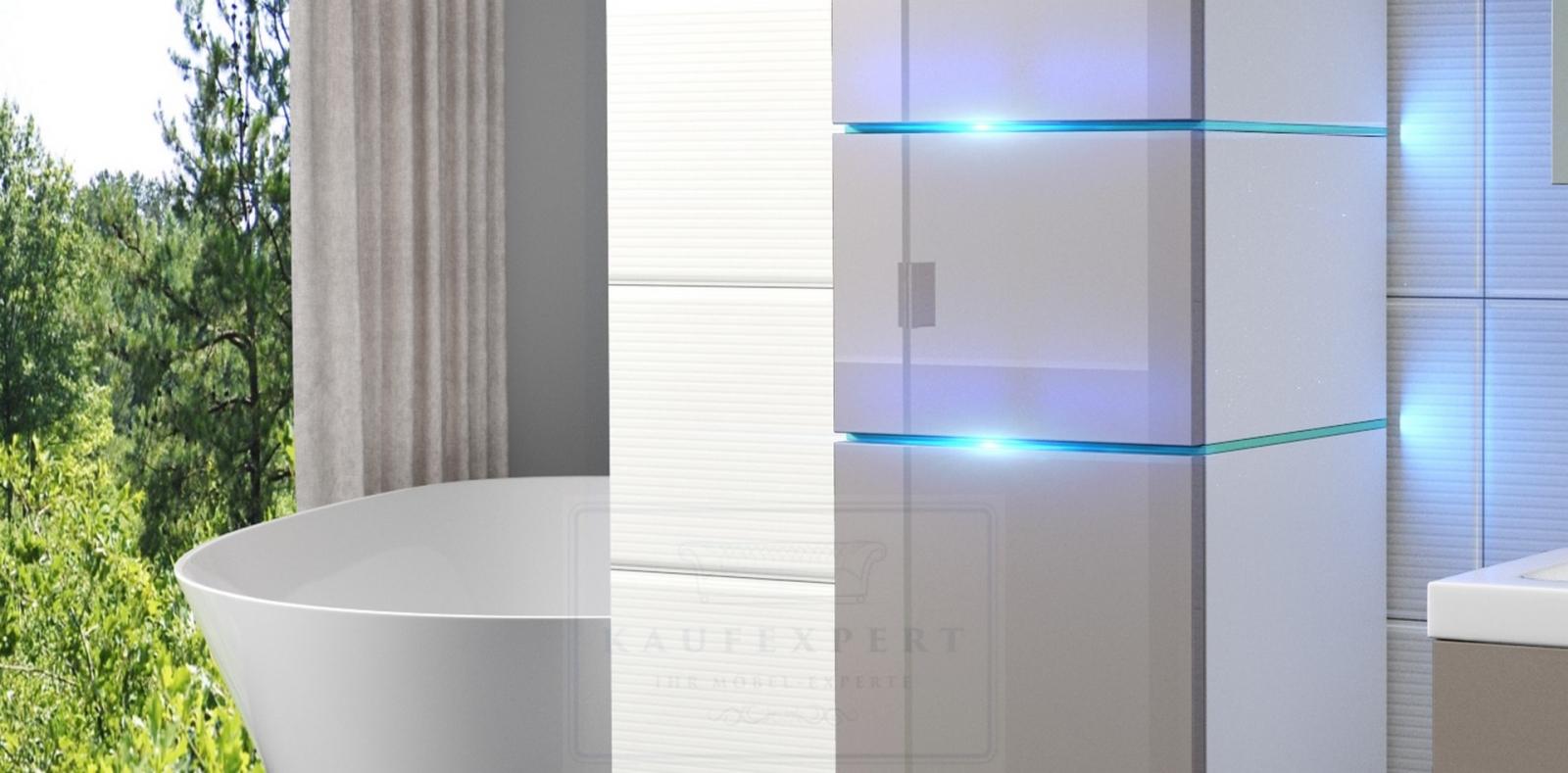 Badmöbel Set Ledox 170 Cm Cappuccino Hochglanz/Weiß KERAMIK Waschbecken  Badezimmer Led Beleuchtung Badezimmermöbel