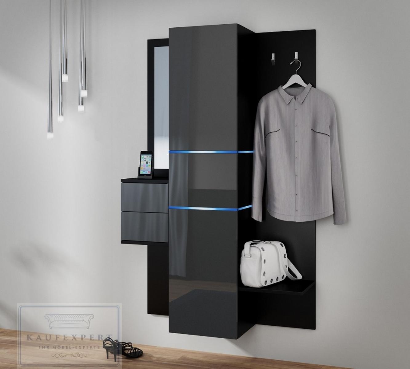 Kaufexpert garderobe camino grau hochglanz schwarz mit for Garderobe grau holz