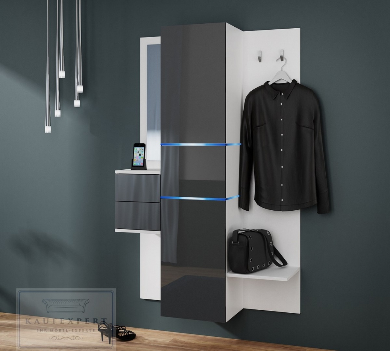 kaufexpert garderobe camino grau hochglanz wei mit. Black Bedroom Furniture Sets. Home Design Ideas