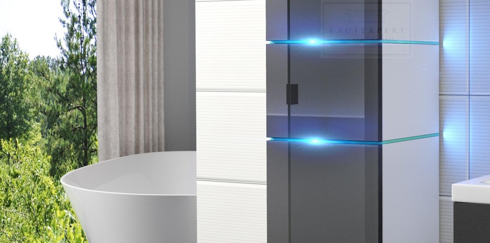 kaufexpert badm bel set ledox 170 cm grau hochglanz wei. Black Bedroom Furniture Sets. Home Design Ideas