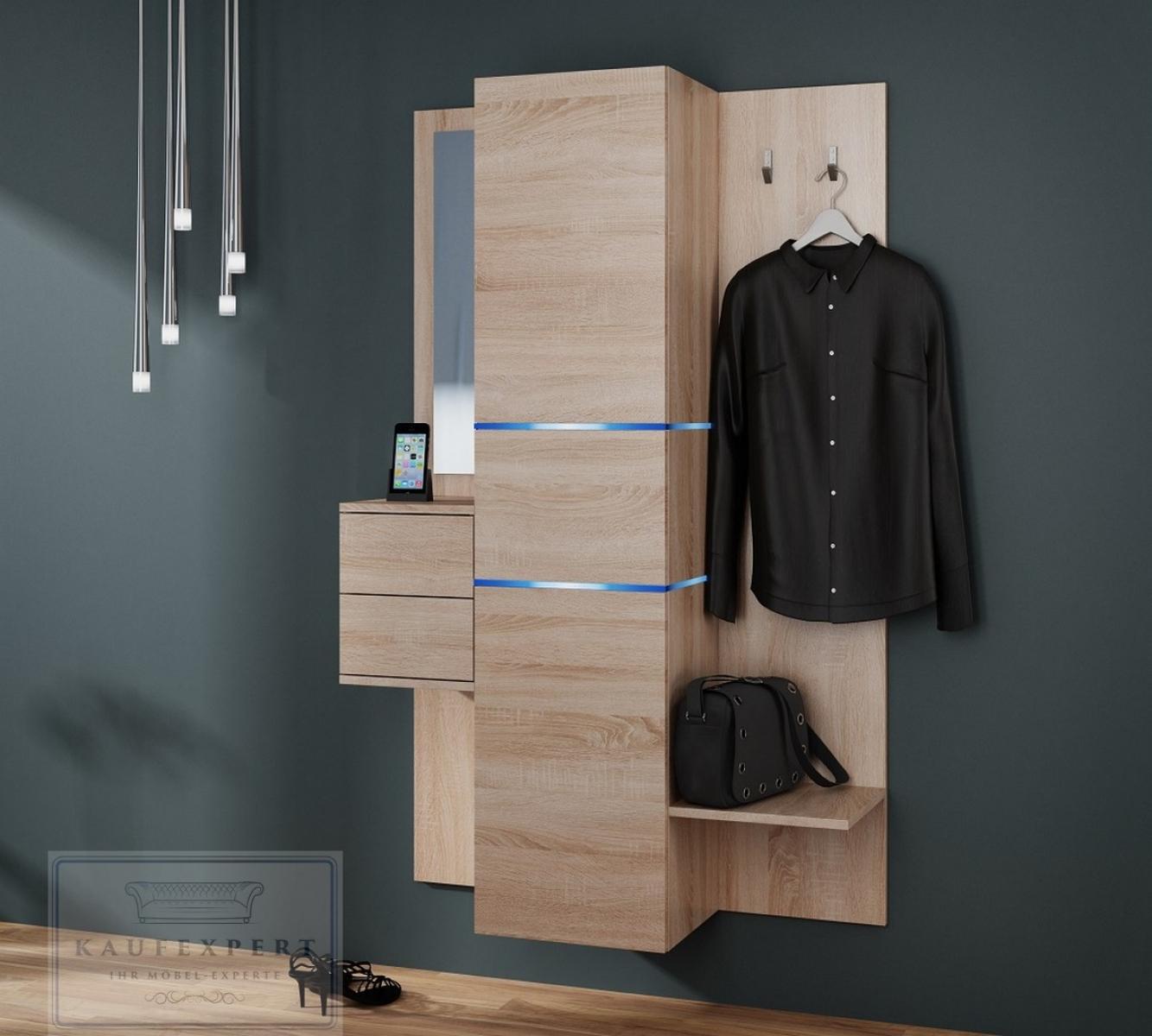 Kaufexpert garderobe camino sonoma eiche mit spiegel led for Garderoben set mit spiegel
