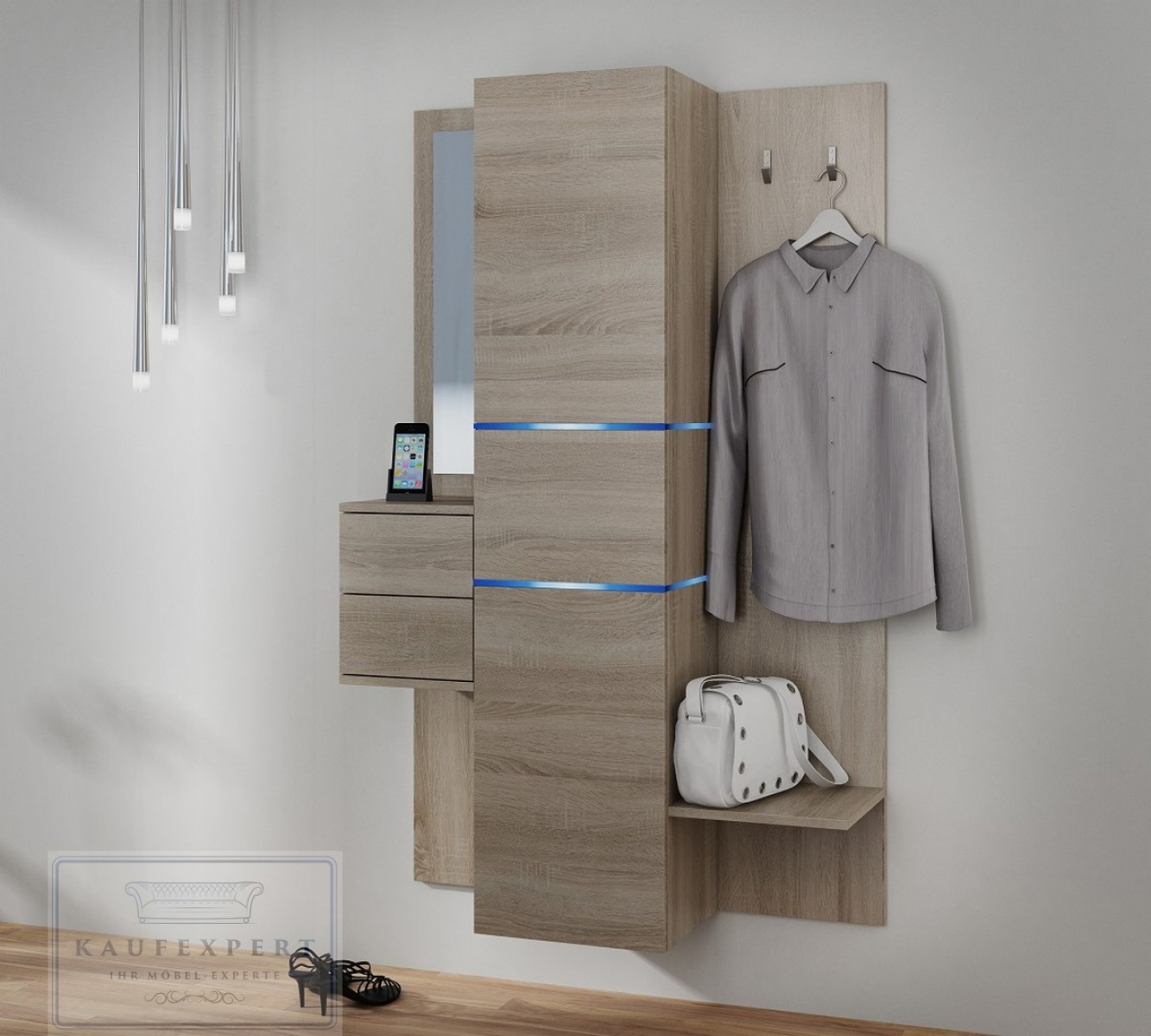 kaufexpert garderobe camino sonoma tabac mit spiegel led beleuchtung garderoben set. Black Bedroom Furniture Sets. Home Design Ideas