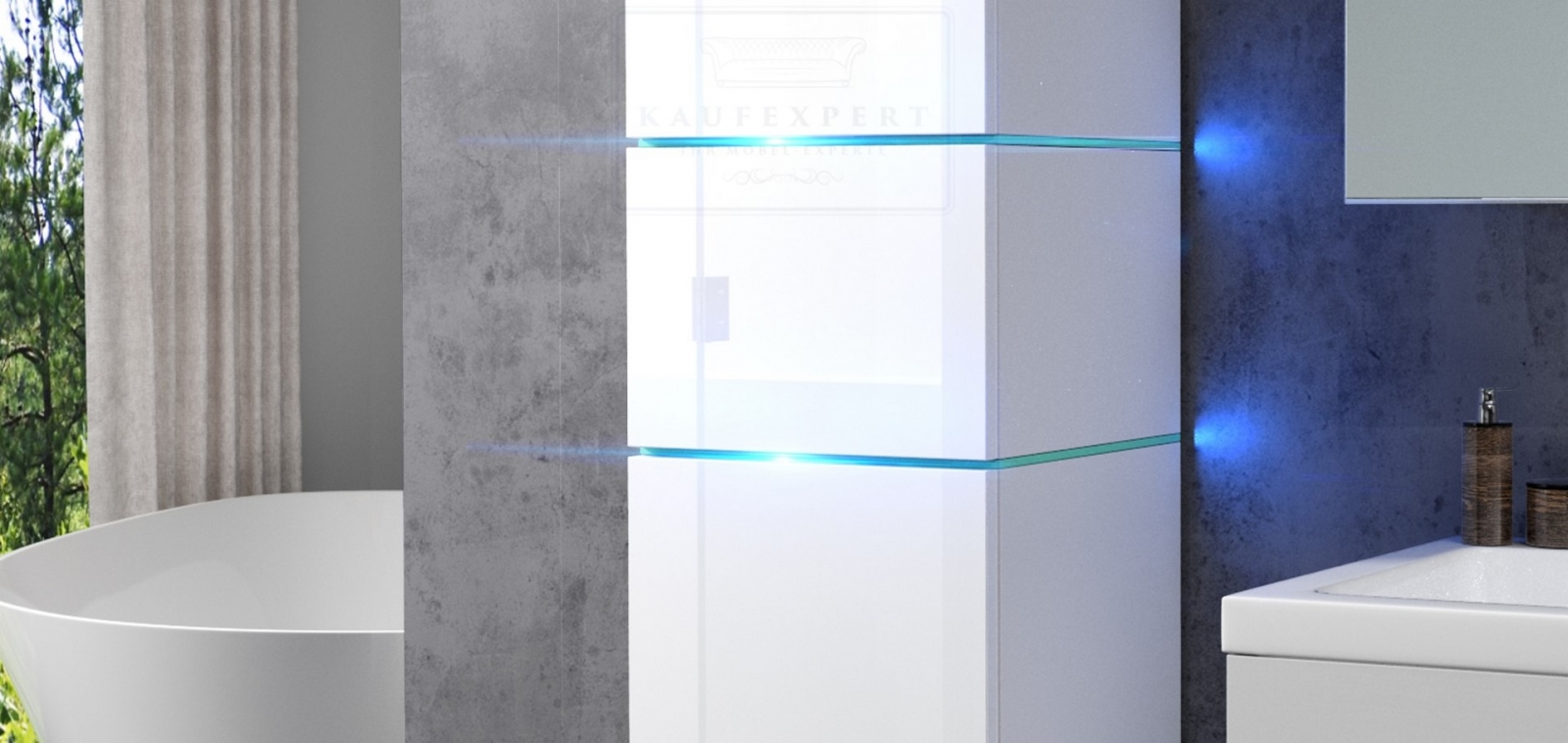 kaufexpert - badmöbel-set ledox 170 cm weiß hochglanz keramik, Badezimmer