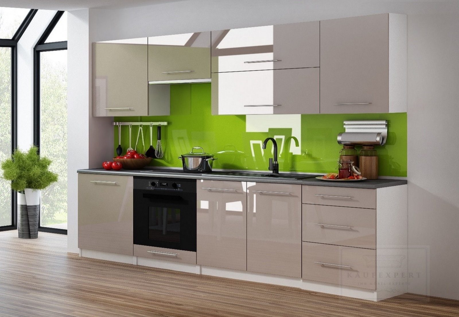 Küchenzeile Linda Cappuccino Hochglanz 240 cm Küche Küchenblock MDF  Arbeitsplatte Relinggriffe Modern Einbauküche