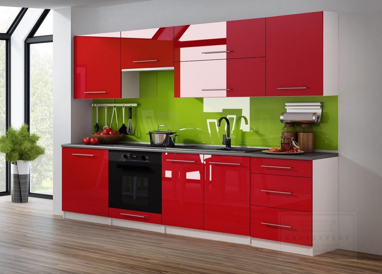 KAUFEXPERT - Küchenzeile Linda Rot Hochglanz 240 cm Küche ...