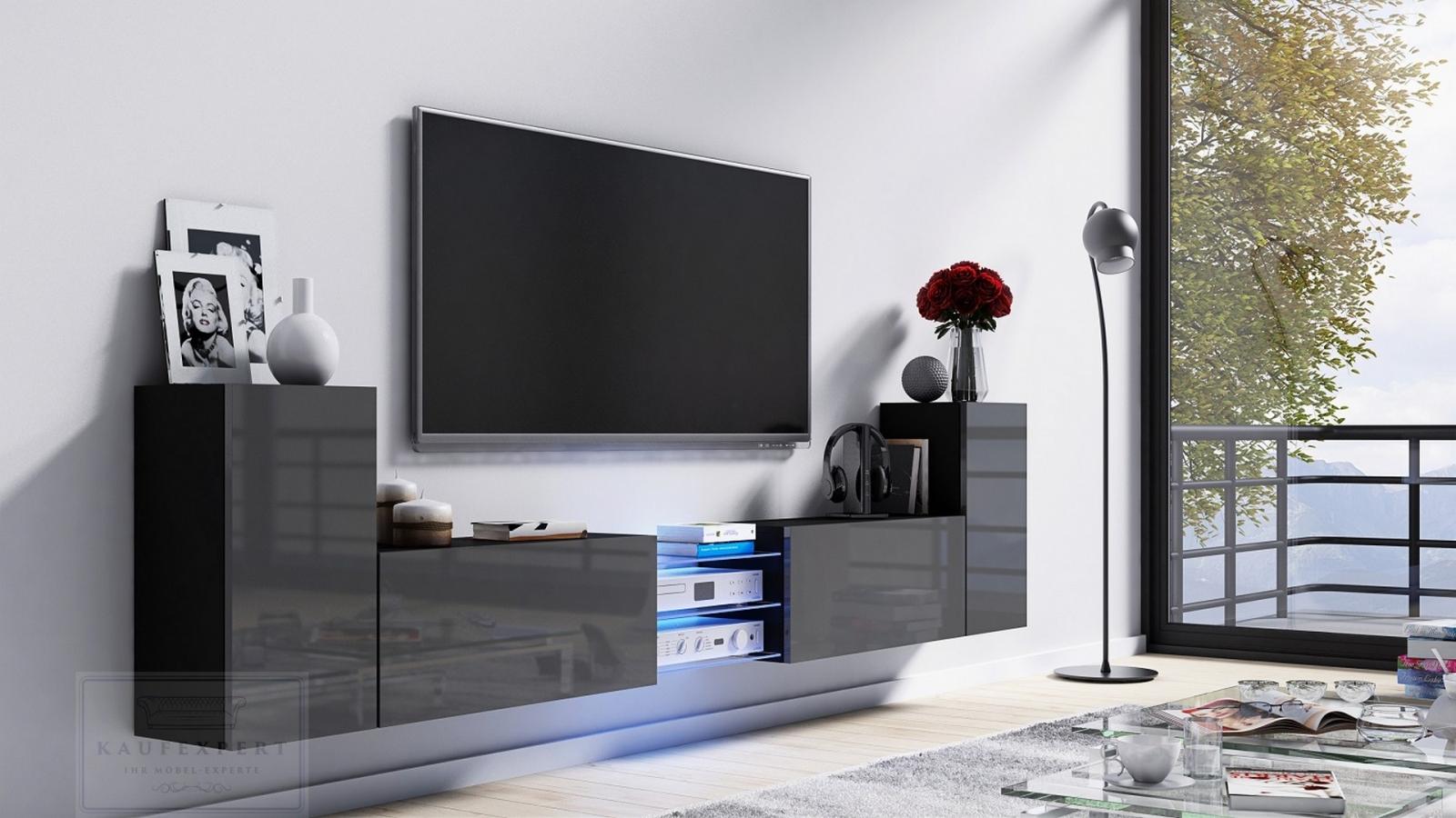 kaufexpert tv lowboard galaxy grau hochglanz schwarz mdf design board hifi tisch beleuchtung. Black Bedroom Furniture Sets. Home Design Ideas