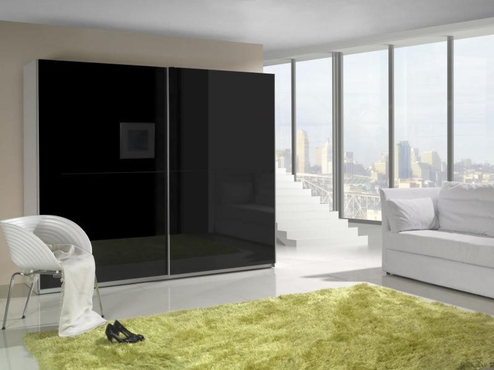 Schwebetürenschrank spiegel schwarz  KAUFEXPERT - Schwebetürenschrank 244 cm Prestige 1 Schwarz ...